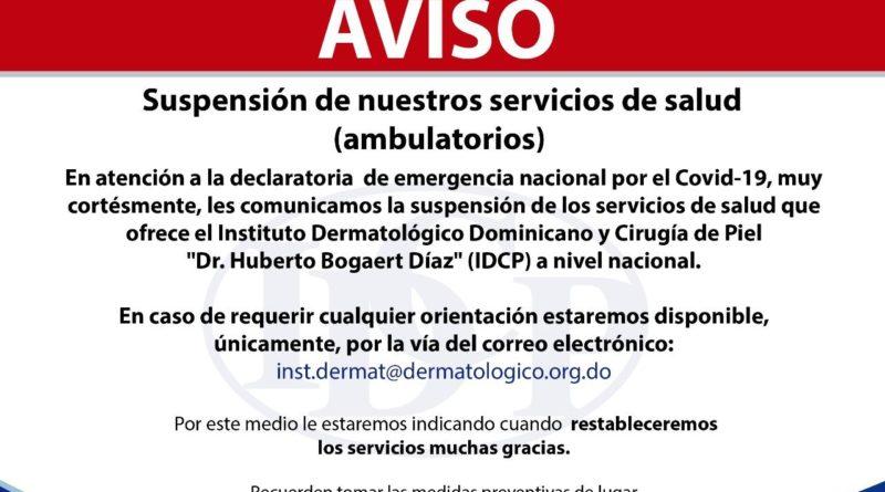 Instituto Dermatológico suspende servicios ambulatorios