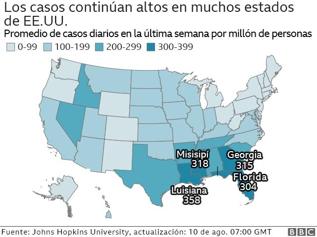 Mapa de Estados Unidos con los estados peor afectados