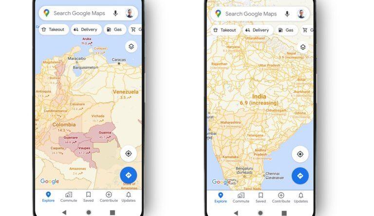 ATENCIÓN:Google Maps ya informa las áreas donde hay más o menos COVID-19