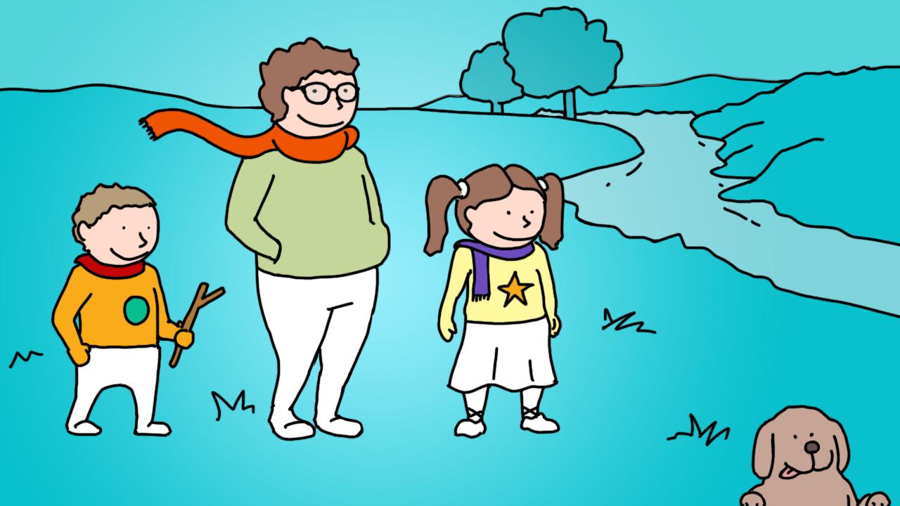 Ilustración de ejercicio al aire libre.