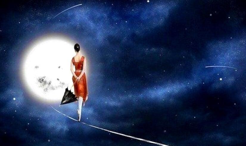 mujer en la luna representando el valor de estar tranquilos