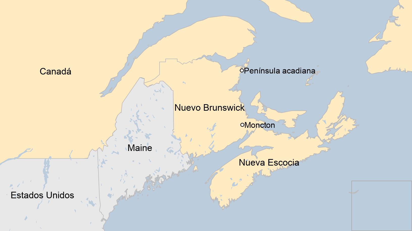 Map: Map showing New Brunswick, Canada